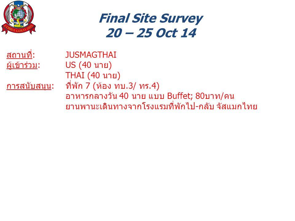 Final Site Survey 20 – 25 Oct 14 สถานที่: JUSMAGTHAI ผู้เข้าร่วม: US (40 นาย) THAI (40 นาย) การสนับสนุน: ที่พัก 7 (ห้อง ทบ.3/ ทร.4) อาหารกลางวัน 40 นาย แบบ Buffet; 80บาท/คน ยานพานะเดินทางจากโรงแรมที่พักไป-กลับ จัสแมกไทย