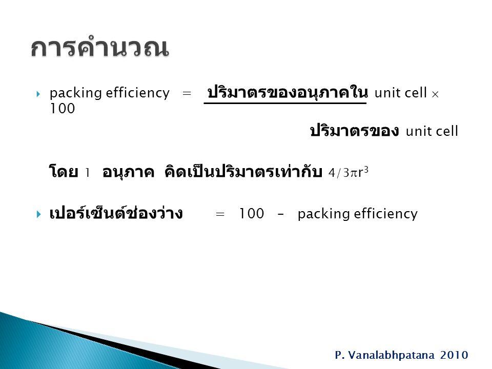  packing efficiency = ปริมาตรของอนุภาคใน unit cell  100 ปริมาตรของ unit cell โดย 1 อนุภาค คิดเป็นปริมาตรเท่ากับ 4/3  r 3  เปอร์เซ็นต์ช่องว่าง = 100 – packing efficiency P.