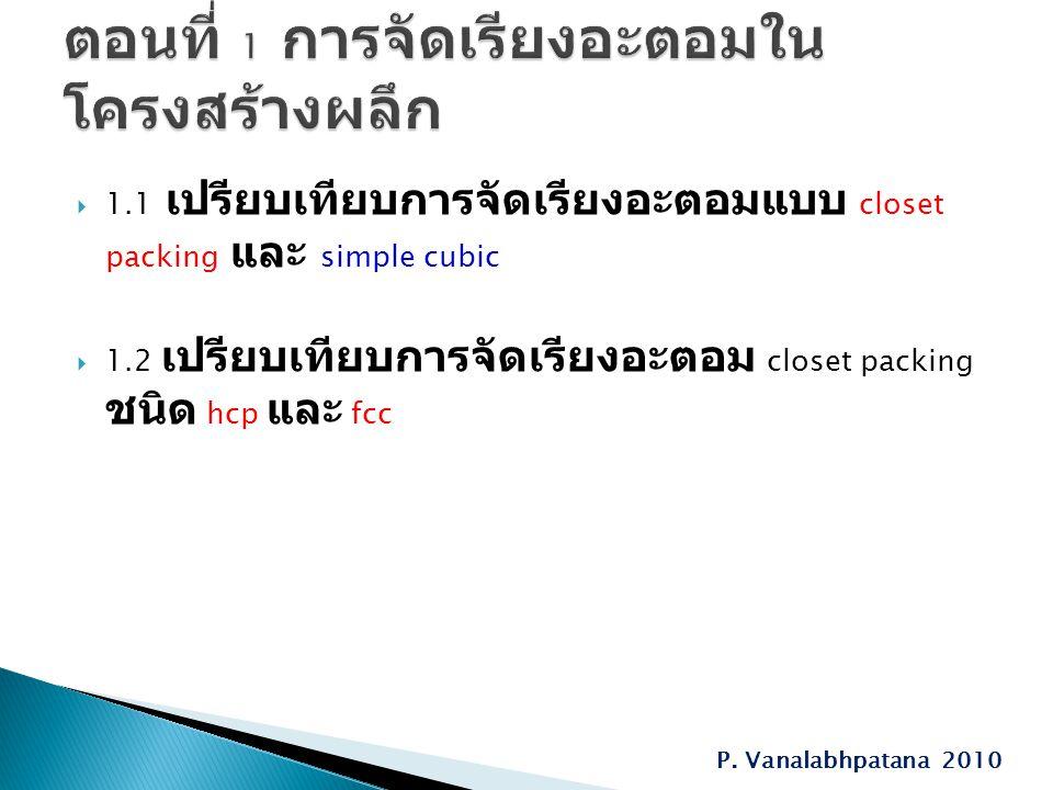  1.1 เปรียบเทียบการจัดเรียงอะตอมแบบ closet packing และ simple cubic  1.2 เปรียบเทียบการจัดเรียงอะตอม closet packing ชนิด hcp และ fcc P. Vanalabhpata