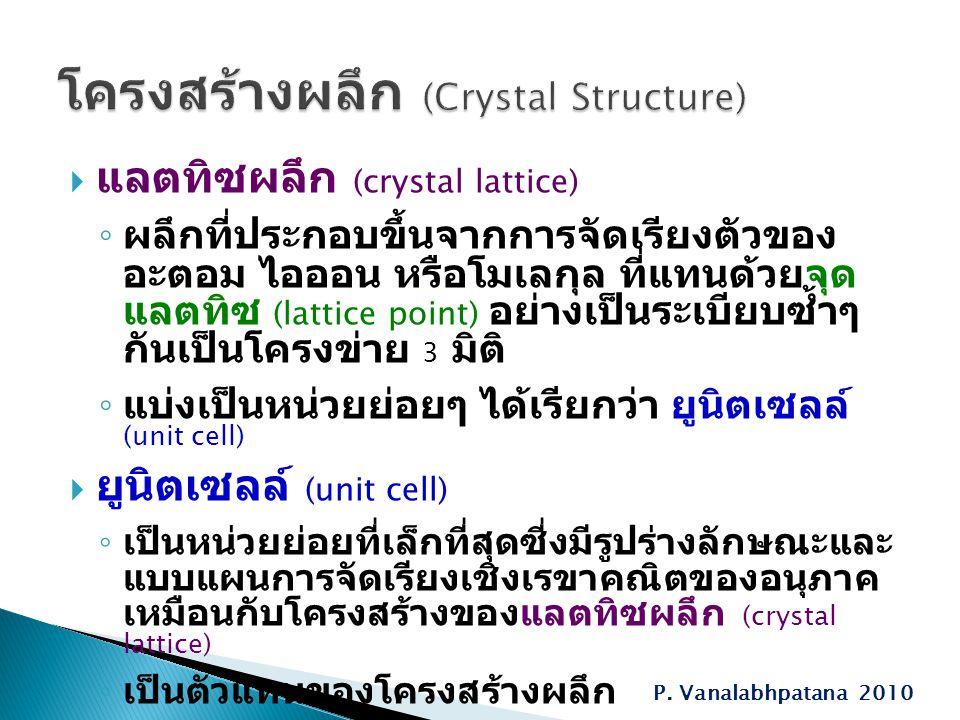  แลตทิซผลึก (crystal lattice) ◦ ผลึกที่ประกอบขึ้นจากการจัดเรียงตัวของ อะตอม ไอออน หรือโมเลกุล ที่แทนด้วยจุด แลตทิซ (lattice point) อย่างเป็นระเบียบซ้ำๆ กันเป็นโครงข่าย 3 มิติ ◦ แบ่งเป็นหน่วยย่อยๆ ได้เรียกว่า ยูนิตเซลล์ (unit cell)  ยูนิตเซลล์ (unit cell) ◦ เป็นหน่วยย่อยที่เล็กที่สุดซี่งมีรูปร่างลักษณะและ แบบแผนการจัดเรียงเชิงเรขาคณิตของอนุภาค เหมือนกับโครงสร้างของแลตทิซผลึก (crystal lattice) ◦ เป็นตัวแทนของโครงสร้างผลึก P.
