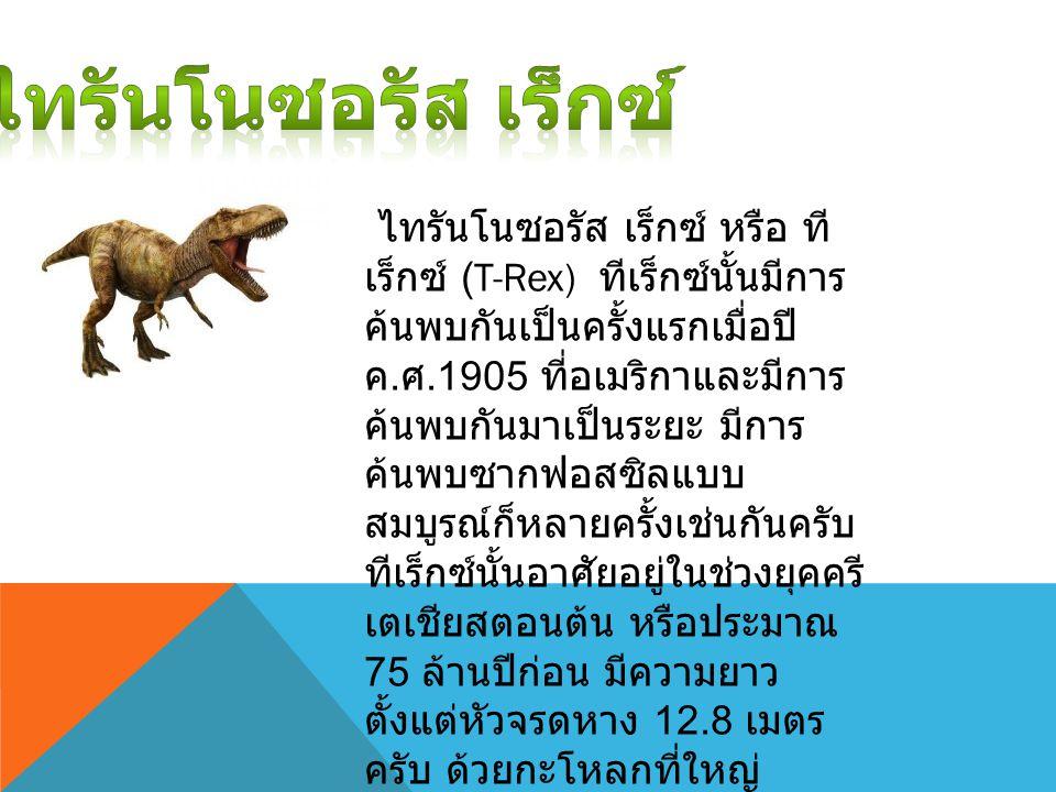 ไทรันโนซอรัส เร็กซ์ หรือ ที เร็กซ์ (T-Rex) ทีเร็กซ์นั้นมีการ ค้นพบกันเป็นครั้งแรกเมื่อปี ค. ศ.1905 ที่อเมริกาและมีการ ค้นพบกันมาเป็นระยะ มีการ ค้นพบซา