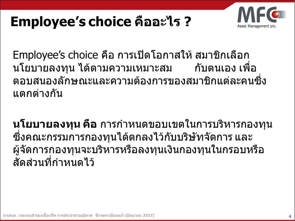 นำเสนอ : กองทุนสำรองเลี้ยงชีพ การประปาส่วนภูมิภาค ซึ่งจดทะเบียนแล้ว (มิถุนายน 2557) 5 ข้อดีสำหรับการจัดตั้ง Employee's Choice  เปิดโอกาสให้สมาชิกกองทุนสามารถเลือกประเภทการลงทุนและระดับความเสี่ยง ที่รับได้เหมาะสม และ/หรือ ตรงตามวัตถุประสงค์ของตนเอง  เพิ่มความยืดหยุ่นแก่สมาชิก โดยสามารถเปลี่ยนกองทุน/นโยบายการลงทุนได้  เปิดโอกาสให้สมาชิกกองทุนสามารถเลือกการลงทุนในลักษณะกระจายความ เสี่ยง (Diversification) ในกองทุนที่มีนโยบายการลงทุนที่แตกต่าง และ หลากหลายมากขึ้น  ส่งเสริมให้สมาชิกมีความรู้ความเข้าใจ และมีความรับผิดชอบในการลงทุนของ ตนเองมากขึ้น  ส่งเสริมให้มีการลงทุนในตราสารทุนในตลาดหลักทรัพย์มากขึ้น เพื่อเป็นการ พัฒนาตลาดทุนของประเทศ