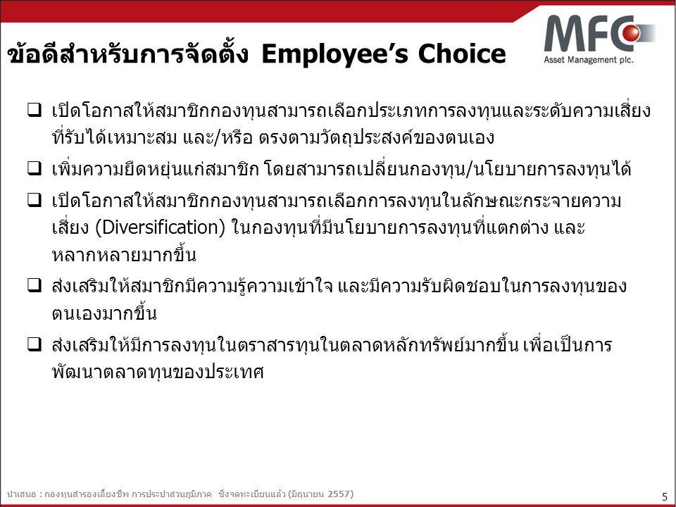 นำเสนอ : กองทุนสำรองเลี้ยงชีพ การประปาส่วนภูมิภาค ซึ่งจดทะเบียนแล้ว (มิถุนายน 2557) 6 ข้อเสียสำหรับการจัดตั้ง Employee's Choice  หากสมาชิกไม่มีความรู้เพียงพอ อาจทำให้เลือกนโยบายการ ลงทุนผิดพลาด จะทำให้เกิดผลเสียหายต่อสมาชิกได้  หากเกิดภาวะเศรษฐกิจผันผวน สมาชิกที่เลือกนโยบายการลงทุน ไว้ไม่สอดคล้องกับภาวะเศรษฐกิจในเวลานั้น จะไม่สามารถ ปรับเปลี่ยนนโยบายการลงทุนได้ทัน