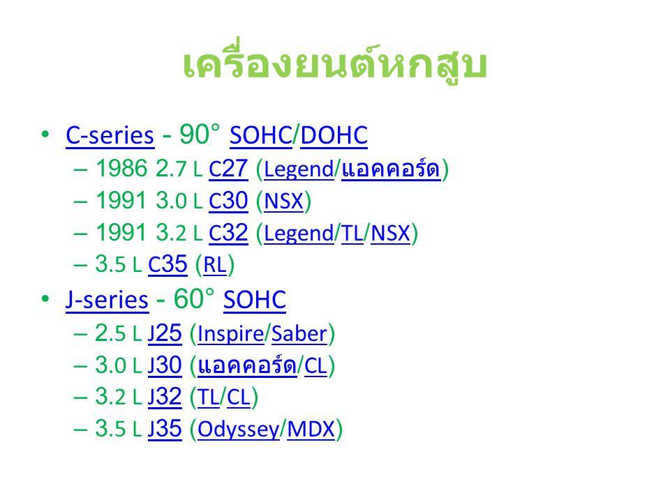 เครื่องยนต์หกสูบ C-series - 90° SOHC/DOHC C-seriesSOHCDOHC – 1986 2.7 L C27 (Legend/ แอคคอร์ด )C27Legend แอคคอร์ด – 1991 3.0 L C30 (NSX)C30NSX – 1991 3.2 L C32 (Legend/TL/NSX)C32LegendTLNSX – 3.5 L C35 (RL)C35RL J-series - 60° SOHC J-seriesSOHC – 2.5 L J25 (Inspire/Saber)J25InspireSaber – 3.0 L J30 ( แอคคอร์ด /CL)J30 แอคคอร์ดCL – 3.2 L J32 (TL/CL)J32TLCL – 3.5 L J35 (Odyssey/MDX)J35OdysseyMDX
