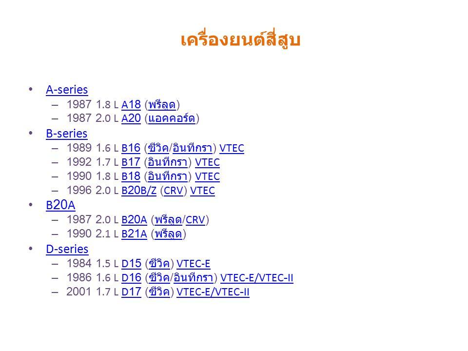 A-series – 1987 1.8 L A18 ( พรีลูด )A18 พรีลูด – 1987 2.0 L A20 ( แอคคอร์ด )A20 แอคคอร์ด B-series – 1989 1.6 L B16 ( ซีวิค / อินทีกรา ) VTECB16 ซีวิค อินทีกราVTEC – 1992 1.7 L B17 ( อินทีกรา ) VTECB17 อินทีกราVTEC – 1990 1.8 L B18 ( อินทีกรา ) VTECB18 อินทีกราVTEC – 1996 2.0 L B20B/Z (CRV) VTECB20B/ZCRVVTEC B20A – 1987 2.0 L B20A ( พรีลูด /CRV)B20A พรีลูดCRV – 1990 2.1 L B21A ( พรีลูด )B21A พรีลูด D-series – 1984 1.5 L D15 ( ซีวิค ) VTEC-ED15 ซีวิคVTEC-E – 1986 1.6 L D16 ( ซีวิค / อินทีกรา ) VTEC-E/VTEC-IID16 ซีวิค อินทีกราVTEC-E/VTEC-II – 2001 1.7 L D17 ( ซีวิค ) VTEC-E/VTEC-IID17 ซีวิคVTEC-E/VTEC-II เครื่องยนต์สี่สูบ