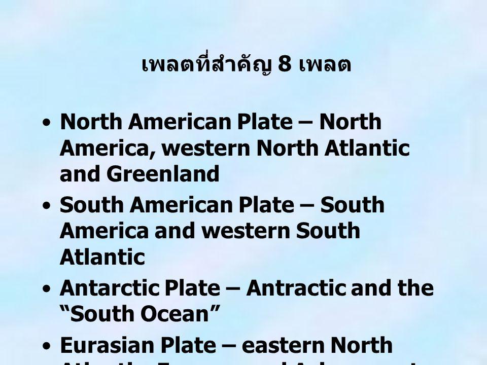 เพลตที่สำคัญ 8 เพลต North American Plate – North America, western North Atlantic and Greenland South American Plate – South America and western South Atlantic Antarctic Plate – Antractic and the South Ocean Eurasian Plate – eastern North Atlantic, Europe, and Asia except for India