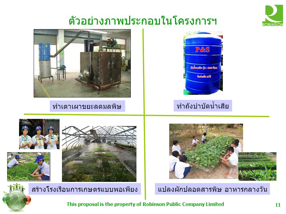 This proposal is the property of Robinson Public Company Limited 11 ตัวอย่างภาพประกอบในโครงการฯ ทำเตาเผาขยะลดมลพิษ ทำถังบำบัดน้ำเสีย สร้างโรงเรือนการเกษตรแบบพอเพียงแปลงผักปลอดสารพิษ อาหารกลางวัน