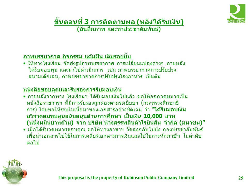 This proposal is the property of Robinson Public Company Limited 30 PR PLAN