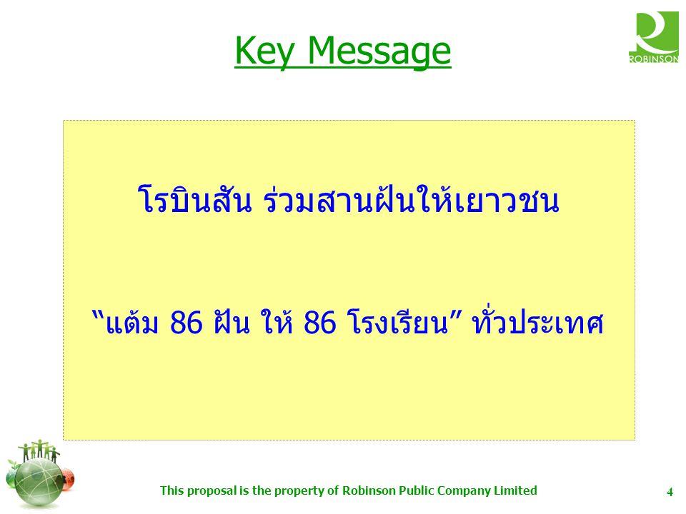 This proposal is the property of Robinson Public Company Limited 4 Key Message โรบินสัน ร่วมสานฝ้นให้เยาวชน แต้ม 86 ฝัน ให้ 86 โรงเรียน ทั่วประเทศ