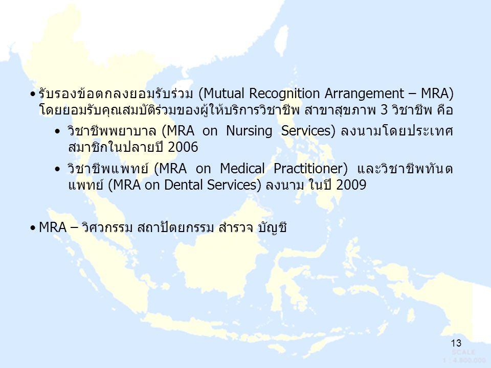 13 รับรองข้อตกลงยอมรับร่วม (Mutual Recognition Arrangement – MRA) โดยยอมรับคุณสมบัติร่วมของผู้ให้บริการวิชาชีพ สาขาสุขภาพ 3 วิชาชีพ คือ วิชาชีพพยาบาล (MRA on Nursing Services) ลงนามโดยประเทศ สมาชิกในปลายปี 2006 วิชาชีพแพทย์ (MRA on Medical Practitioner) และวิชาชีพทันต แพทย์ (MRA on Dental Services) ลงนาม ในปี 2009 MRA – วิศวกรรม สถาปัตยกรรม สำรวจ บัญชี