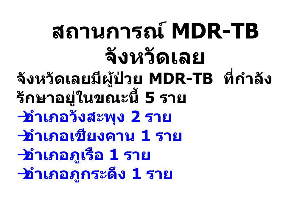 สถานการณ์ MDR-TB จังหวัดเลย จังหวัดเลยมีผู้ป่วย MDR-TB ที่กำลัง รักษาอยู่ในขณะนี้ 5 ราย  อำเภอวังสะพุง 2 ราย  อำเภอเชียงคาน 1 ราย  อำเภอภูเรือ 1 รา