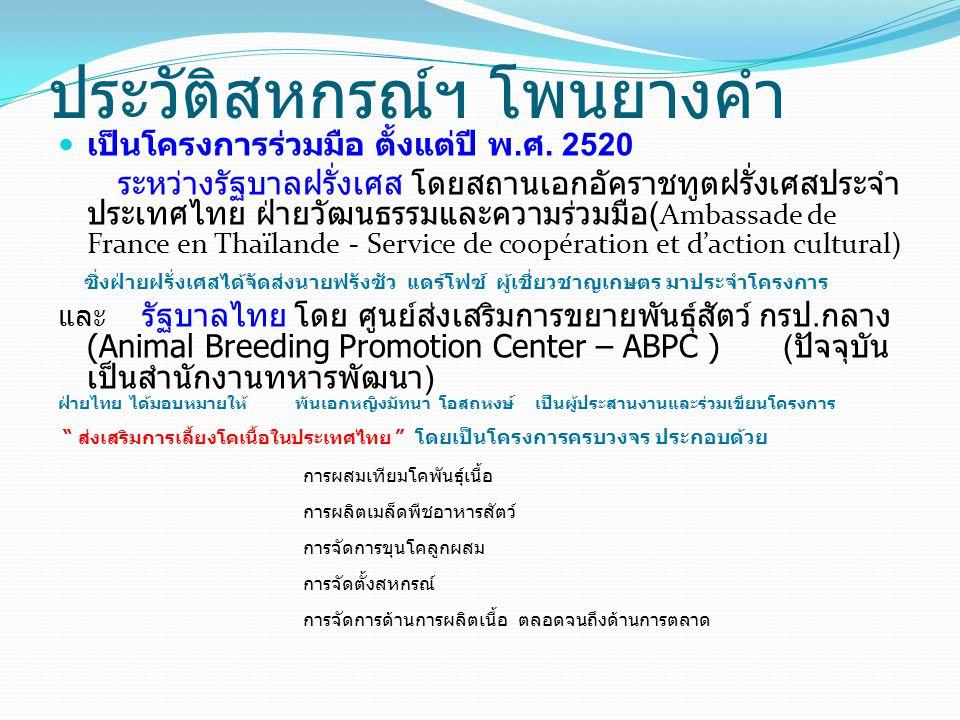 การวางเป้าหมายของโครงการ เพื่อเป็นการส่งเสริมการเลี้ยงโคเนื้อ ในประเทศไทย ผู้รับผิดชอบโครงการได้มี ความเห็นสอดคล้องกัน ในการให้เกษตรกรที่ทำนา และเลี้ยงโคพื้นเมืองอยู่แล้ว ทำการปรับปรุงสาย พันธุ์ให้เป็นโคลูกผสมพันธุ์เนื้อ โดยใช้วิธีการผสม เทียม เมื่อมีโคลูกผสมเทียมเพศผู้เกิดขึ้น ให้ทำ การทดสอบสายพันธุ์โคลูกผสมที่เหมาะสมจะทำ การผลิตเนื้อที่ดีที่สุดต่อไป วัตถุประสงค์ของโครงการ เพื่อการพัฒนาสร้างอาชีพเสริมให้กับราษฎรยากจนในเขต ภาคอิสาน โดยเลือกพื้นที่จังหวัดสกลนครและนครพนม เป็นเป้าหมายแรก เพื่อส่งเสริมให้ราษฎรเลี้ยงโคลูกผสมที่เกิดจากการผสม เทียม เพื่อผลิตเป็นเนื้อโคขุนคุณภาพทัดเทียมกับเนื้อ นำเข้าจากต่างประเทศ เพื่อให้เกิดการบริหารจัดการในระบบสหกรณ์ ตั้งแต่การ รวมกลุ่มสมาชิก ไปจนถึงการจัดการด้านการตลาด 27/03/58PYK Presentation4