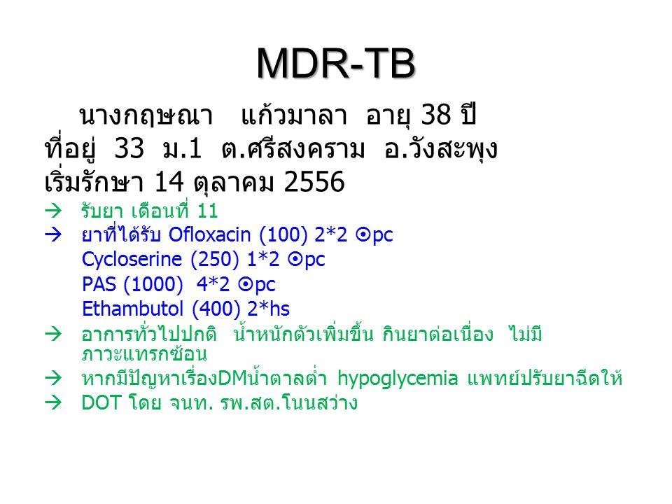 MDR-TB นางกฤษณา แก้วมาลา อายุ 38 ปี ที่อยู่ 33 ม.1 ต.ศรีสงคราม อ.วังสะพุง เริ่มรักษา 14 ตุลาคม 2556  รับยา เดือนที่ 11  ยาที่ได้รับ Ofloxacin (100) 2*2  pc Cycloserine (250) 1*2  pc PAS (1000) 4*2  pc Ethambutol (400) 2*hs  อาการทั่วไปปกติ น้ำหนักตัวเพิ่มขึ้น กินยาต่อเนื่อง ไม่มี ภาวะแทรกซ้อน  หากมีปัญหาเรื่องDMน้ำตาลต่ำ hypoglycemia แพทย์ปรับยาฉีดให้  DOT โดย จนท.