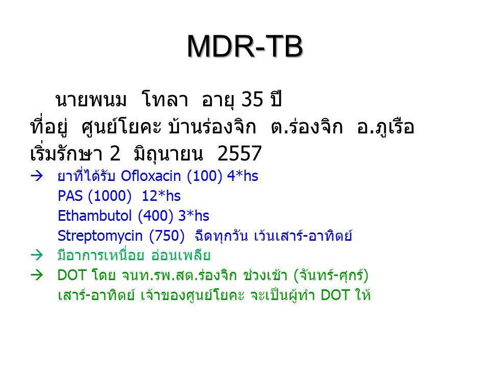 MDR-TB นายพนม โทลา อายุ 35 ปี ที่อยู่ ศูนย์โยคะ บ้านร่องจิก ต.ร่องจิก อ.ภูเรือ เริ่มรักษา 2 มิถุนายน 2557  ยาที่ได้รับ Ofloxacin (100) 4*hs PAS (1000) 12*hs Ethambutol (400) 3*hs Streptomycin (750) ฉีดทุกวัน เว้นเสาร์-อาทิตย์  มีอาการเหนื่อย อ่อนเพลีย  DOT โดย จนท.รพ.สต.ร่องจิก ช่วงเช้า (จันทร์-ศุกร์) เสาร์-อาทิตย์ เจ้าของศูนย์โยคะ จะเป็นผู้ทำ DOT ให้