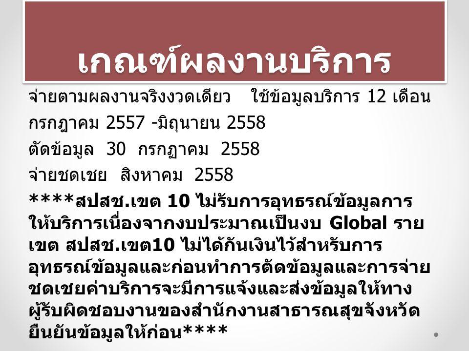 เกณฑ์ผลงานบริการเกณฑ์ผลงานบริการ จ่ายตามผลงานจริงงวดเดียว ใช้ข้อมูลบริการ 12 เดือน กรกฎาคม 2557 - มิถุนายน 2558 ตัดข้อมูล 30 กรกฏาคม 2558 จ่ายชดเชย สิ