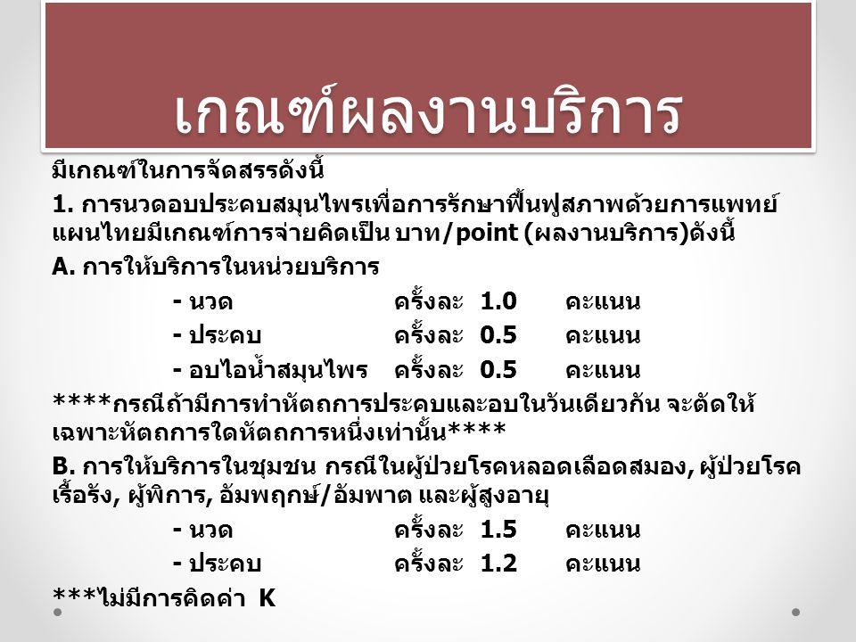 เกณฑ์ผลงานบริการเกณฑ์ผลงานบริการ มีเกณฑ์ในการจัดสรรดังนี้ 1. การนวดอบประคบสมุนไพรเพื่อการรักษาฟื้นฟูสภาพด้วยการแพทย์ แผนไทยมีเกณฑ์การจ่ายคิดเป็น บาท /