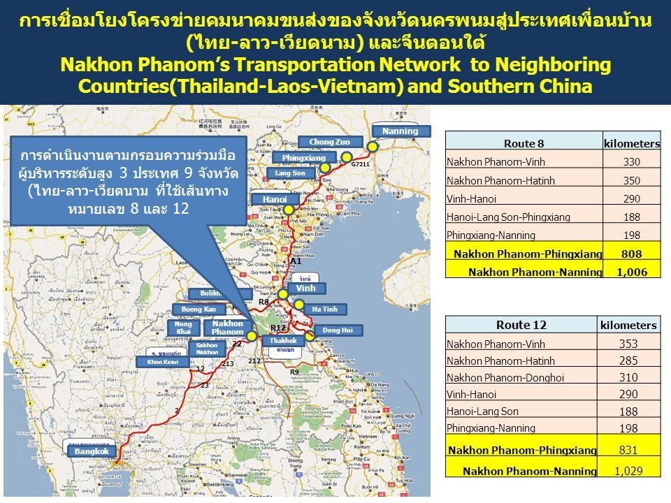การเชื่อมโยงโครงข่ายคมนาคมขนส่งของจังหวัดนครพนมสู่ประเทศเพื่อนบ้าน (ไทย-ลาว-เวียดนาม) และจีนตอนใต้ Nakhon Phanom's Transportation Network to Neighbori