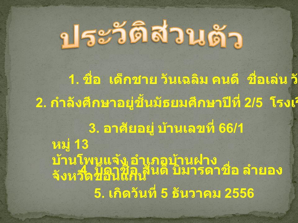 1.นักเรียนพระราชทาน 2. ได้เป็นนักเรียนดีเด่นประจำ อำเภอ 3.