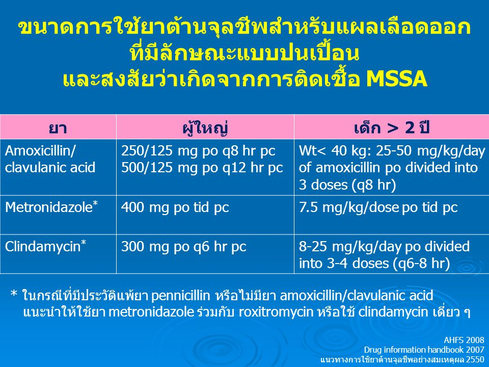 การใช้ยาต้านจุลชีพสำหรับแผลเลือดออก ที่สงสัยว่าเกิดจากการติดเชื้อ CA-MRSA ยาผู้ใหญ่เด็ก Clindamycin300 mg po q6 hr pcAge>2 yrs: 8-25 mg/kg/day po divided into 3-4 doses (q6-8 hr) TMP/SMX160/800 po q12 hr pcAge>8 wks: 8-12 mg/kg/day of TMP po divided into 2 doses (q12 hr) Tetracycline250 mg po q6 hr pcAge>8 yrs: 25-50 mg/kg/day po divided into 2-4 doses (q6-12 hr) Doxycycline100 mg po q12 hr pcAge>8 yrs: 2-4 mg/kg/day po divided into 1-2 doses (q12-24 hr) N Engl J Med 2007;357:380-90.