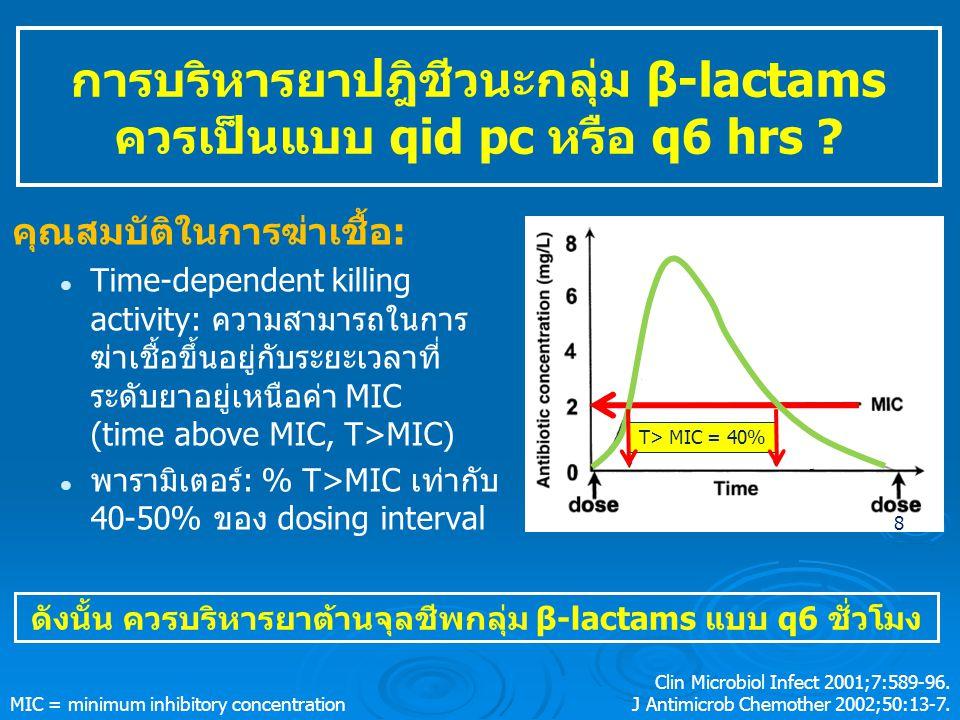 การบริหารยาปฎิชีวนะกลุ่ม β-lactams ควรเป็นแบบ qid pc หรือ q6 hrs .