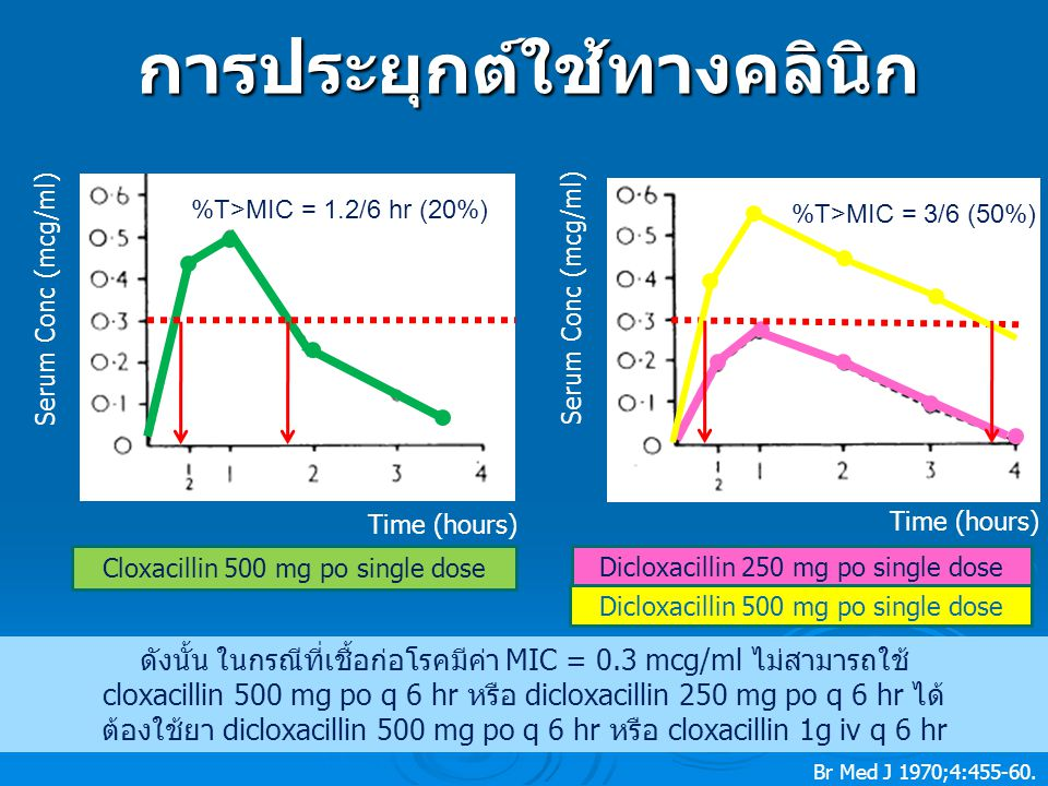 Cloxacillin 500 mg po single dose Dicloxacillin 250 mg po single dose Serum Conc (mcg/ml) Time (hours) Dicloxacillin 500 mg po single dose %T>MIC = 1.2/6 hr (20%) %T>MIC = 3/6 (50%) ดังนั้น ในกรณีที่เชื้อก่อโรคมีค่า MIC = 0.3 mcg/ml ไม่สามารถใช้ cloxacillin 500 mg po q 6 hr หรือ dicloxacillin 250 mg po q 6 hr ได้ ต้องใช้ยา dicloxacillin 500 mg po q 6 hr หรือ cloxacillin 1g iv q 6 hrการประยุกต์ใช้ทางคลินิก Br Med J 1970;4:455-60.