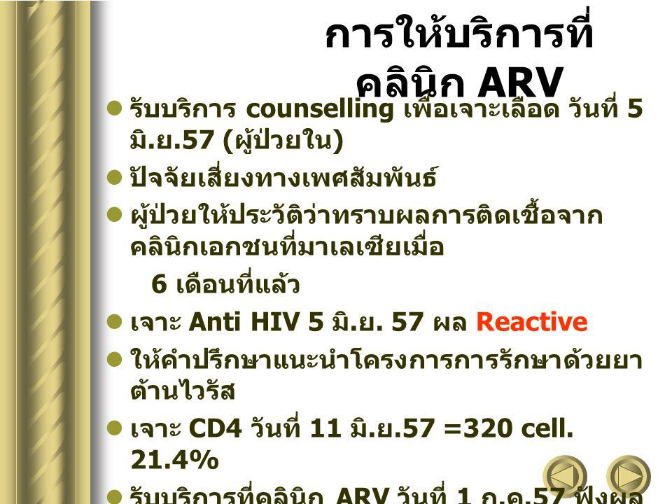 การให้บริการที่ คลินิก ARV รับบริการ counselling เพื่อเจาะเลือด วันที่ 5 มิ. ย.57 ( ผู้ป่วยใน ) ปัจจัยเสี่ยงทางเพศสัมพันธ์ ผู้ป่วยให้ประวัติว่าทราบผลก