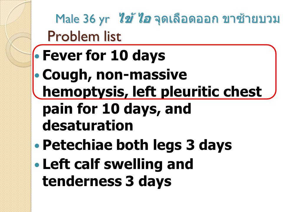 Problem list Fever for 10 days Cough, non-massive hemoptysis.