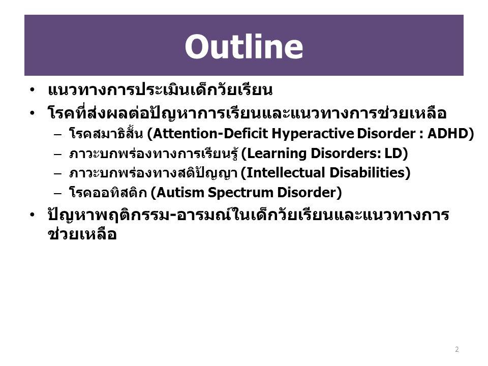 (F81.0) ความผิดปกติจำเพาะของการอ่าน (Reading Disorder/ Dyslexia) (F81.1) ความผิดปกติจำเพาะของการสะกดคำ (Specific Spelling Disorder) (F81.2) ความผิดปกติจำเพาะของทักษะทาง คณิตศาสตร์ (Mathematics Disorder/ Specific disorder of arithmetical skills) (F81.3) ความผิดปกติผสมของทักษะในการเรียน (Mixed disorder of scholastic skills) การวินิจฉัยตามระบบ ICD 10 63