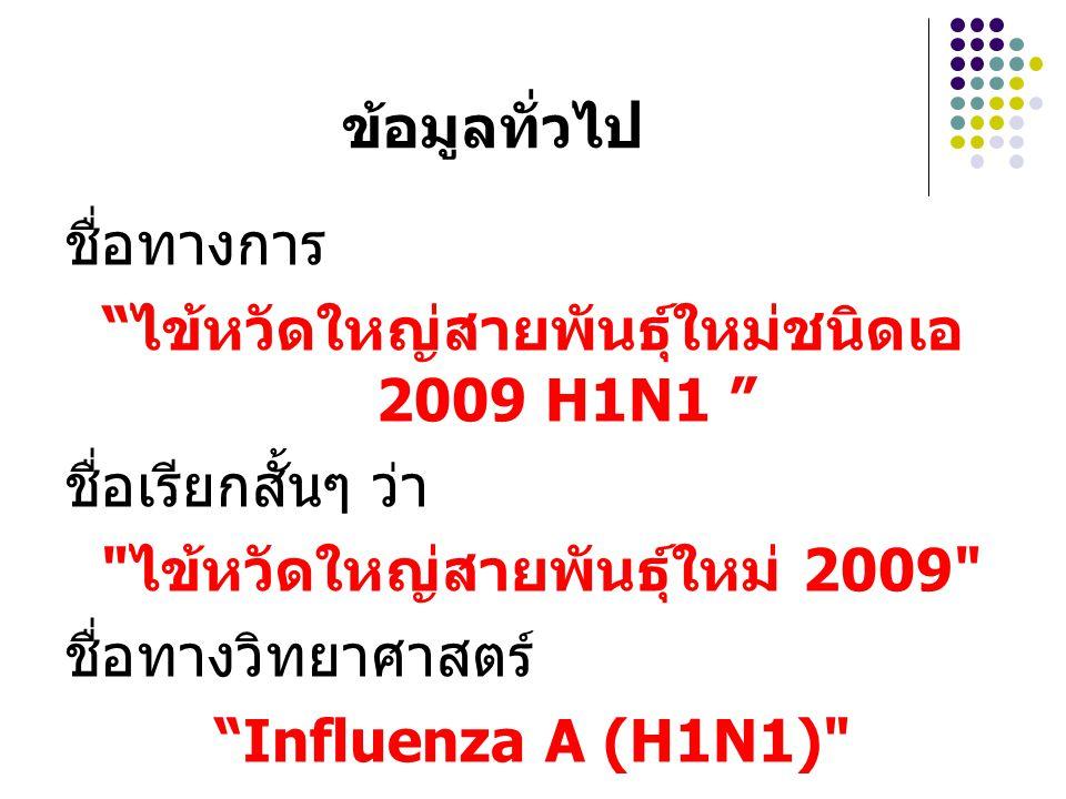 ข้อมูลทั่วไป ชื่อทางการ ไข้หวัดใหญ่สายพันธุ์ใหม่ชนิดเอ 2009 H1N1 ชื่อเรียกสั้นๆ ว่า ไข้หวัดใหญ่สายพันธุ์ใหม่ 2009 ชื่อทางวิทยาศาสตร์ Influenza A (H1N1)