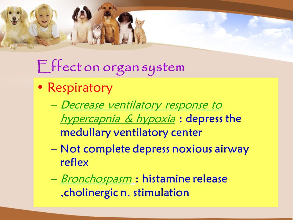Respiratory –Decrease ventilatory response to hypercapnia & hypoxia : depress the medullary ventilatory center –Not complete depress noxious airway reflex –Bronchospasm : histamine release,cholinergic n.