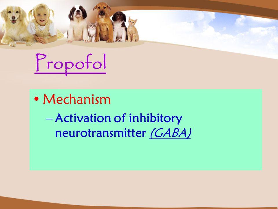 Propofol Mechanism –Activation of inhibitory neurotransmitter (GABA)
