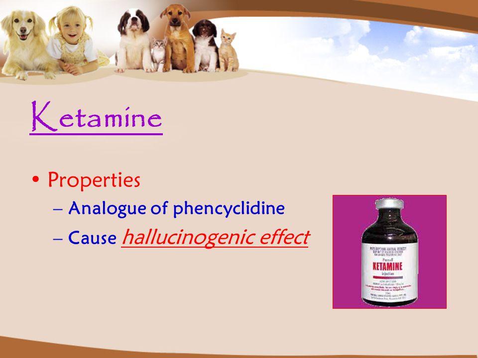 Ketamine Properties –Analogue of phencyclidine –Cause hallucinogenic effect