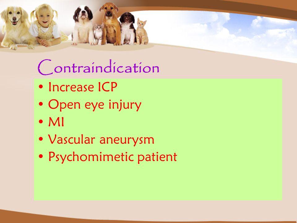 Contraindication Increase ICP Open eye injury MI Vascular aneurysm Psychomimetic patient