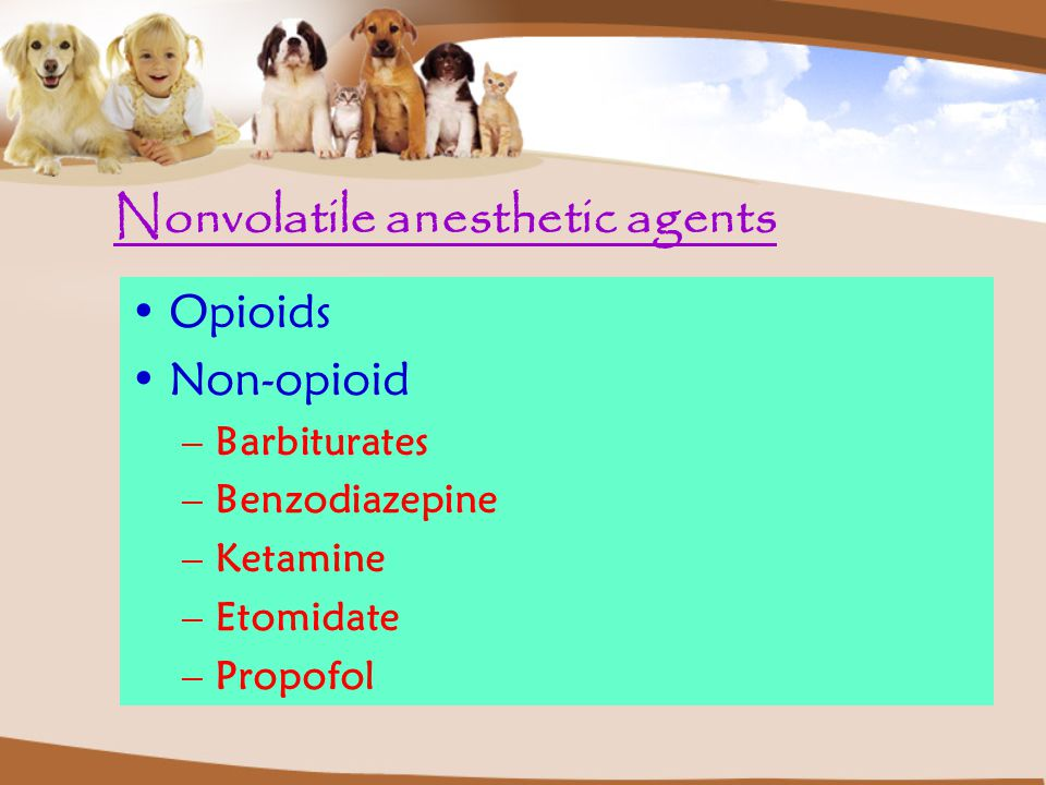 Nonvolatile anesthetic agents Opioids Non-opioid –Barbiturates –Benzodiazepine –Ketamine –Etomidate –Propofol