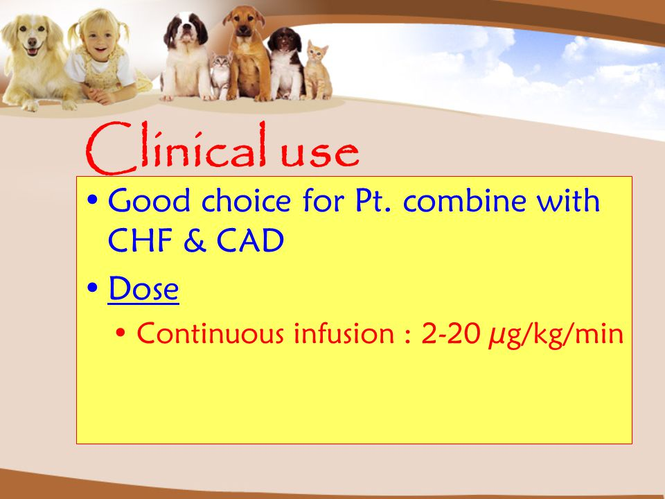 Clinical use Good choice for Pt. combine with CHF & CAD Dose Continuous infusion : 2-20 µg/kg/min