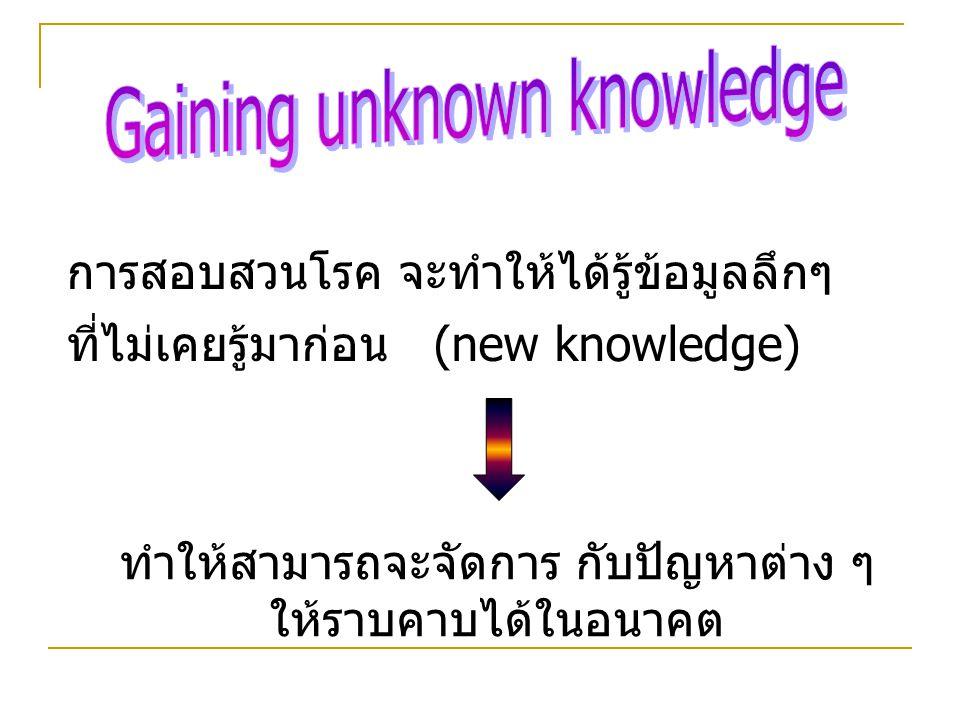 การสอบสวนโรค จะทำให้ได้รู้ข้อมูลลึกๆ ที่ไม่เคยรู้มาก่อน (new knowledge) ทำให้สามารถจะจัดการ กับปัญหาต่าง ๆ ให้ราบคาบได้ในอนาคต