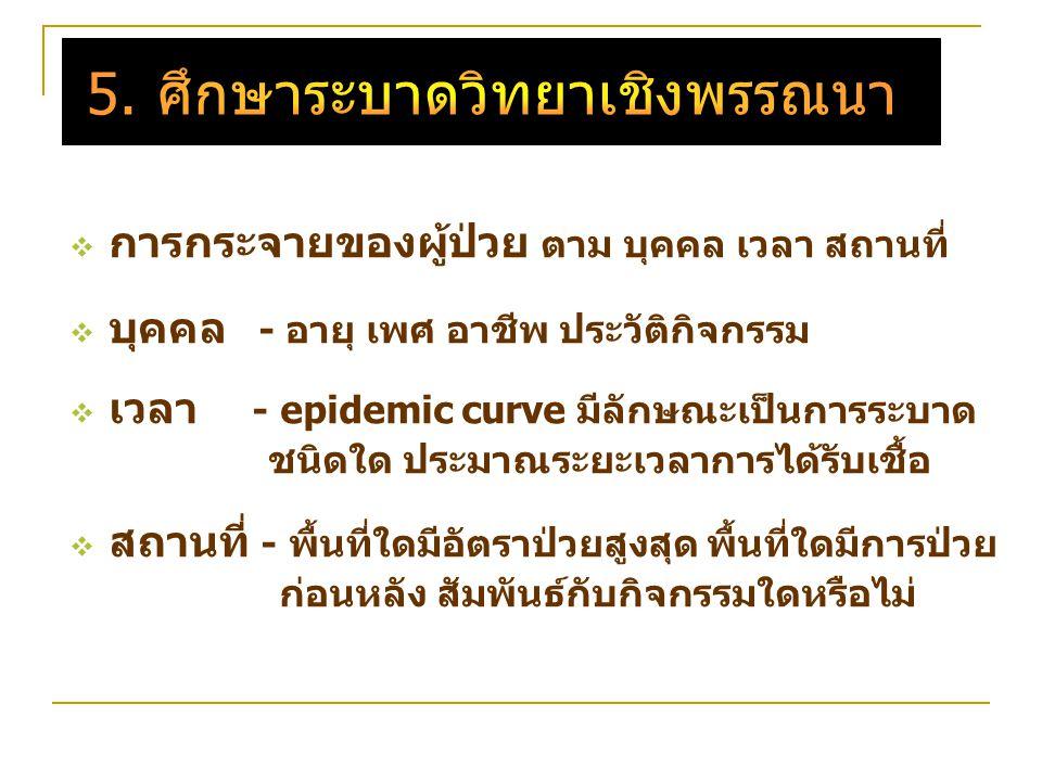  การกระจายของผู้ป่วย ตาม บุคคล เวลา สถานที่  บุคคล - อายุ เพศ อาชีพ ประวัติกิจกรรม  เวลา - epidemic curve มีลักษณะเป็นการระบาด ชนิดใด ประมาณระยะเวลาการได้รับเชื้อ  สถานที่ - พื้นที่ใดมีอัตราป่วยสูงสุด พื้นที่ใดมีการป่วย ก่อนหลัง สัมพันธ์กับกิจกรรมใดหรือไม่