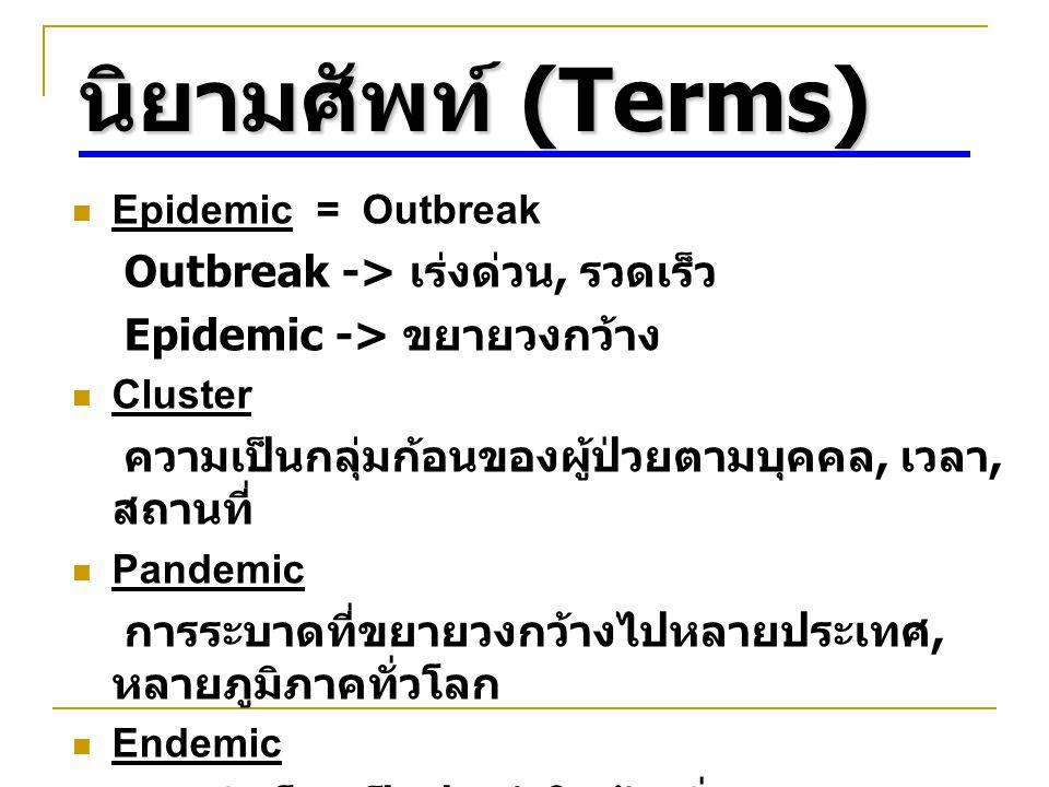 นิยามศัพท์ (Terms) Epidemic = Outbreak Outbreak -> เร่งด่วน, รวดเร็ว Epidemic -> ขยายวงกว้าง Cluster ความเป็นกลุ่มก้อนของผู้ป่วยตามบุคคล, เวลา, สถานที่ Pandemic การระบาดที่ขยายวงกว้างไปหลายประเทศ, หลายภูมิภาคทั่วโลก Endemic การเกิดโรคเป็นประจำในท้องถิ่น