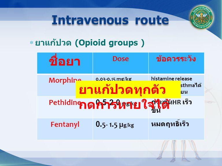 ยาแก้ปวด (Opioid groups ) Intravenous route ชื่อยา Dose ข้อควรระวัง Morphine 0.03-0.15 mg/kghistamine release อาจกระตุ้น asthma ได้ คลื่นไส้อาเจียน Pethidine0.5-2.0 mg/kg กระตุ้น HR เร็ว ขึ้น Fentanyl0.5- 1.5 µ g/kg หมดฤทธิ์เร็ว ยาแก้ปวดทุกตัว กดการหายใจได้