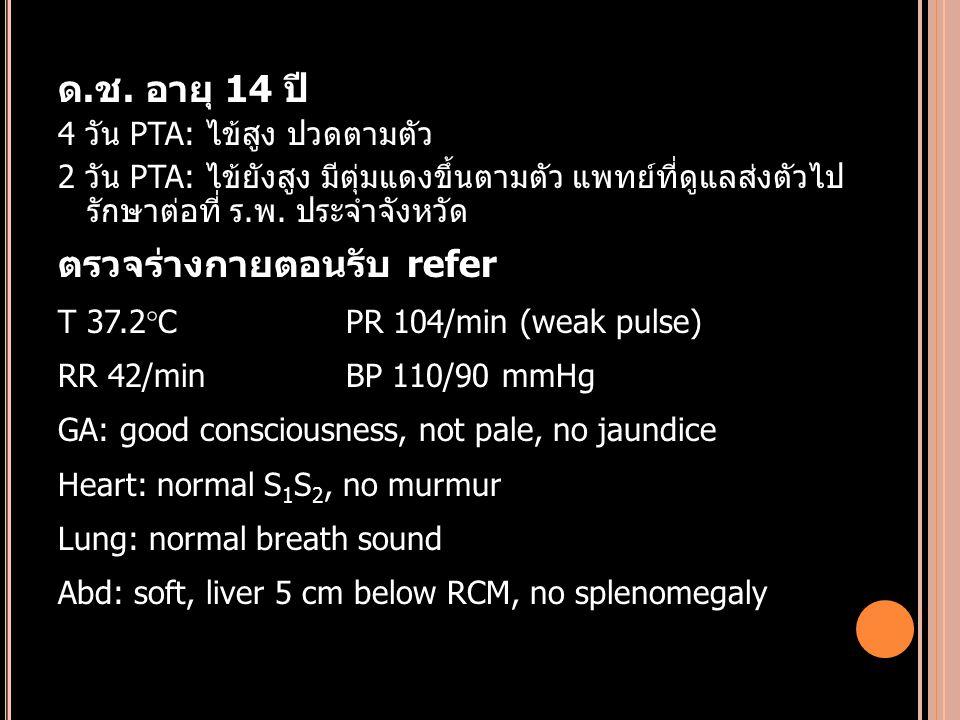 ด.ช. อายุ 14 ปี 4 วัน PTA: ไข้สูง ปวดตามตัว 2 วัน PTA: ไข้ยังสูง มีตุ่มแดงขึ้นตามตัว แพทย์ที่ดูแลส่งตัวไป รักษาต่อที่ ร.พ. ประจำจังหวัด ตรวจร่างกายตอน