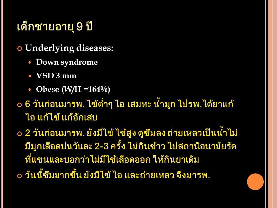 เด็กชายอายุ 9 ปี Underlying diseases: Down syndrome VSD 3 mm Obese (W/H =164%) 6 วันก่อนมารพ. ไข้ต่ำๆ ไอ เสมหะ น้ำมูก ไปรพ.ได้ยาแก้ ไอ แก้ไข้ แก้อักเส