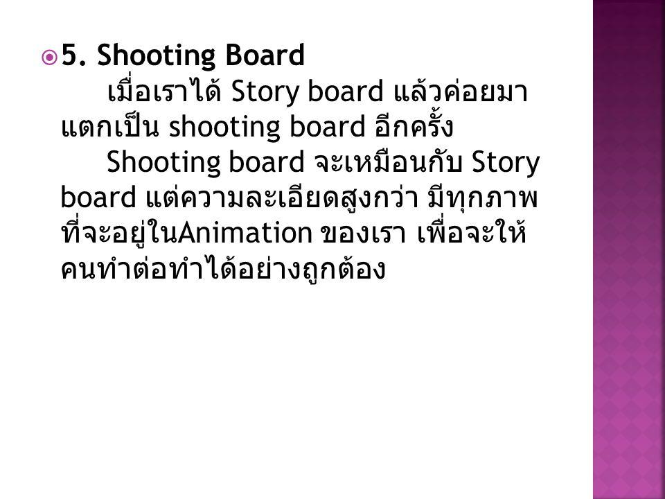  5. Shooting Board เมื่อเราได้ Story board แล้วค่อยมา แตกเป็น shooting board อีกครั้ง Shooting board จะเหมือนกับ Story board แต่ความละเอียดสูงกว่า มี