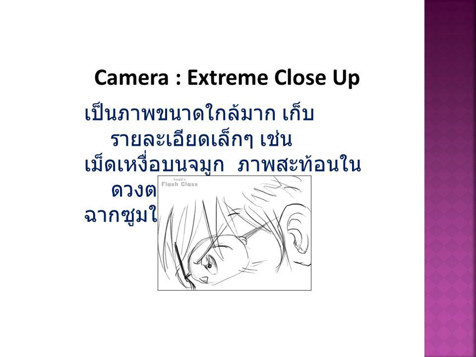 Camera : Extreme Close Up เป็นภาพขนาดใกล้มาก เก็บ รายละเอียดเล็กๆ เช่น เม็ดเหงื่อบนจมูก ภาพสะท้อนใน ดวงตา บางทีเป็น ฉากซูมให้เห็นผิวหนังก็ได้
