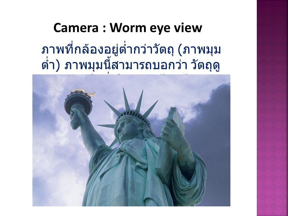 Camera : Worm eye view ภาพที่กล้องอยู่ต่ำกว่าวัตถุ ( ภาพมุม ต่ำ ) ภาพมุมนี้สามารถบอกว่า วัตถุดู น่ากลัว หรือยิ่งใหญ่ แค่ไหนได้