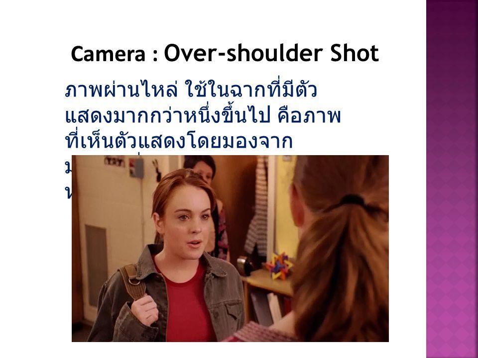 Camera : Over-shoulder Shot ภาพผ่านไหล่ ใช้ในฉากที่มีตัว แสดงมากกว่าหนึ่งขึ้นไป คือภาพ ที่เห็นตัวแสดงโดยมองจาก มุมมองที่ผ่านไหล่ตัวละครอีกตัว หนึ่ง