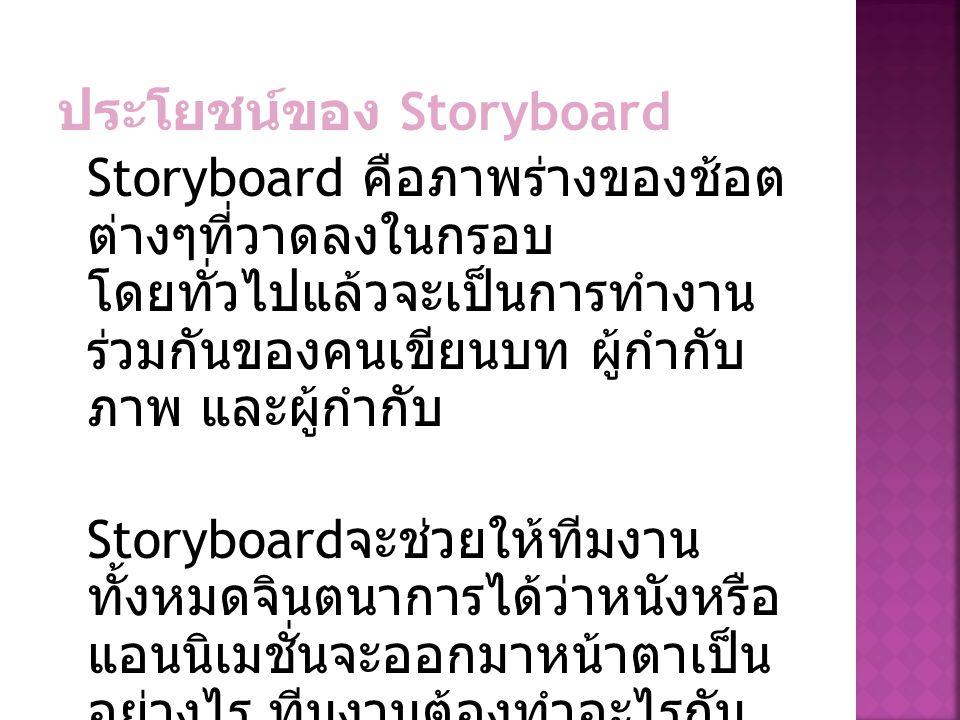 ประโยชน์ของ Storyboard Storyboard คือภาพร่างของช้อต ต่างๆที่วาดลงในกรอบ โดยทั่วไปแล้วจะเป็นการทำงาน ร่วมกันของคนเขียนบท ผู้กำกับ ภาพ และผู้กำกับ Story