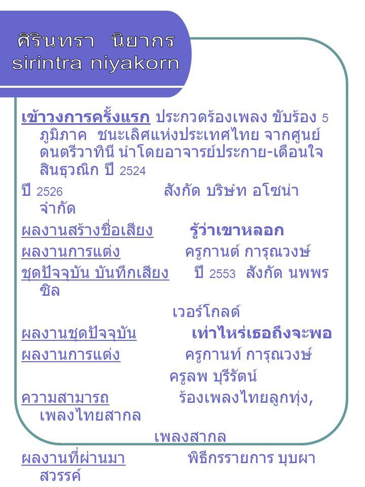 เข้าวงการครั้งแรก ประกวดร้องเพลง ขับร้อง 5 ภูมิภาค ชนะเลิศแห่งประเทศไทย จากศูนย์ ดนตรีวาทินี นำโดยอาจารย์ประกาย - เตือนใจ สินธุวณิก ปี 2524 ปี 2526 สั