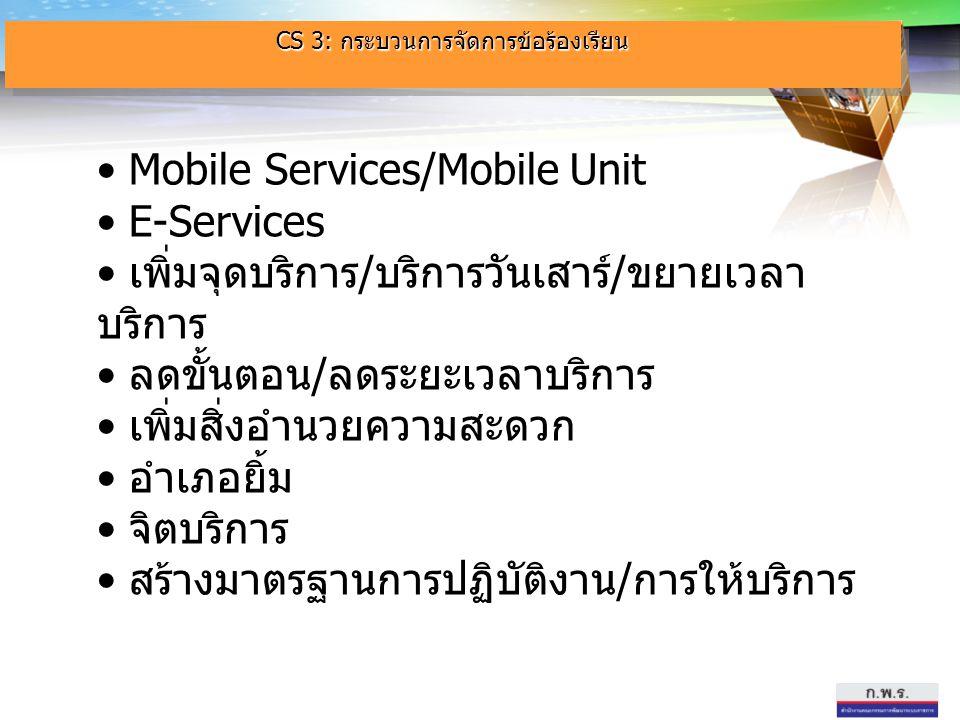 Mobile Services/Mobile Unit Mobile Services/Mobile Unit E-Services เพิ่มจุดบริการ / บริการวันเสาร์ / ขยายเวลา บริการ เพิ่มจุดบริการ / บริการวันเสาร์ /