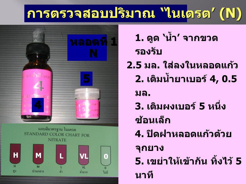 การตรวจสอบปริมาณ 'ไนเตรต' (N) 4 5 หลอดที่ 1 N N H M L VL 0 1. ดูด 'น้ำ' จากขวด รองรับ 2.5 มล. ใส่ลงในหลอดแก้ว 2. เติมน้ำยาเบอร์ 4, 0.5 มล. 3. เติมผงเบ