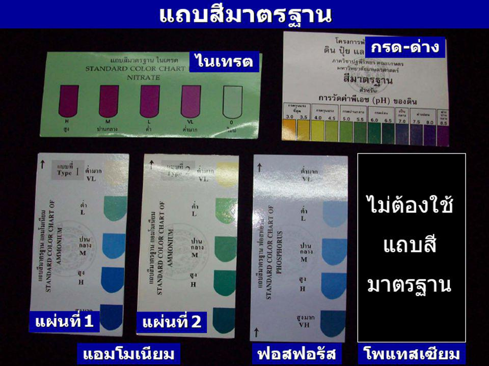 เตรียมตัวอย่างดิน สกัดธาตุอาหารพืช ความเป็นกรด-ด่าง (pH) ตรวจสอบ แอมโมเนียมไนเทรต ฟอสฟอรัส พี : P โพแทสเซียม เค : K ไนโตรเจน เอ็น : N ถ้าดินนาถ้าดินไร่ ตรวจสอบ ขั้นตอนการตรวจสอบดิน แอมโมเนียม ฟอสฟอรัส โพแทสเซียม ความเป็นกรด-ด่าง หรือค่าพีเอช (pH) ไนเตรต